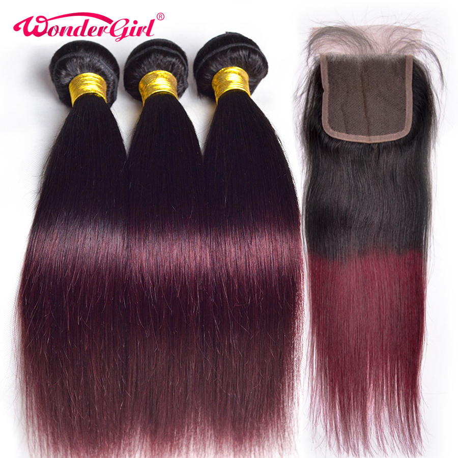 T1B/99J Burgundy Peruvian Straight Hair Ombre Bundles With Closure Ombre Human Hair Bundles With Closure Non Remy Wonder girl