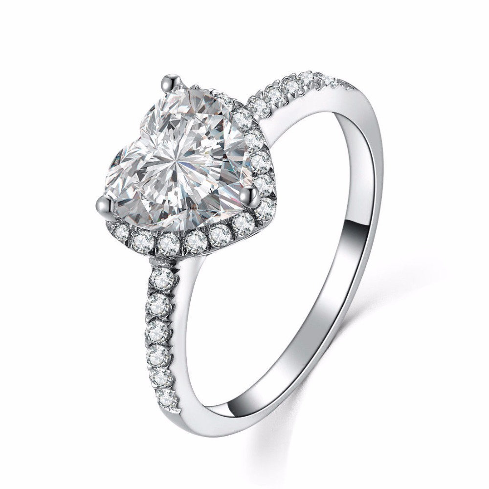 Solid Silver Guarantee 2Ct Engagement Finger Ring Women Sterling Silver Jewelry White Gold Color