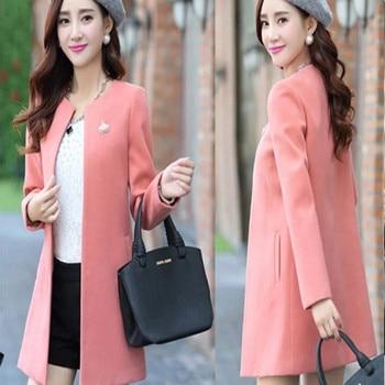 SexeMara Top Quality Coat Winter Jacket Women Casual Long Wool Coat 2018 New Korean Fashion Large Size Women's Winter Coat 2