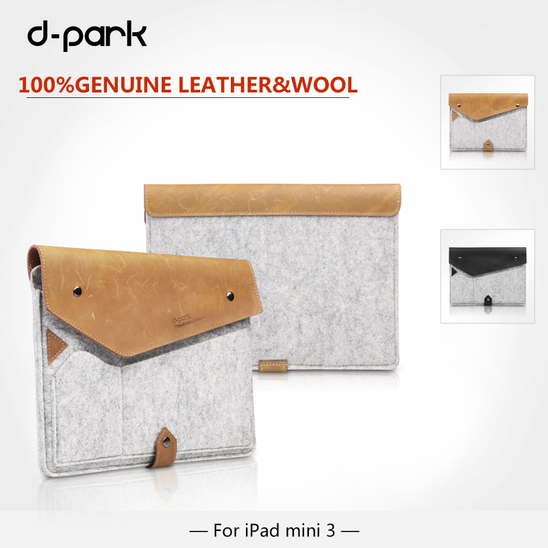 Free Shipping D park Simple Style Wool Felt Crazy horse leather sleeve Case For apple ipad