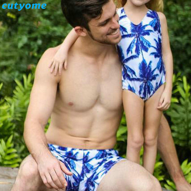 Mother Daughter Father Son Swimsuits Blue Family Look Mom And Daugher Daddy Parent Child Bikini Bathing Swimwear Summer Clothes (15)