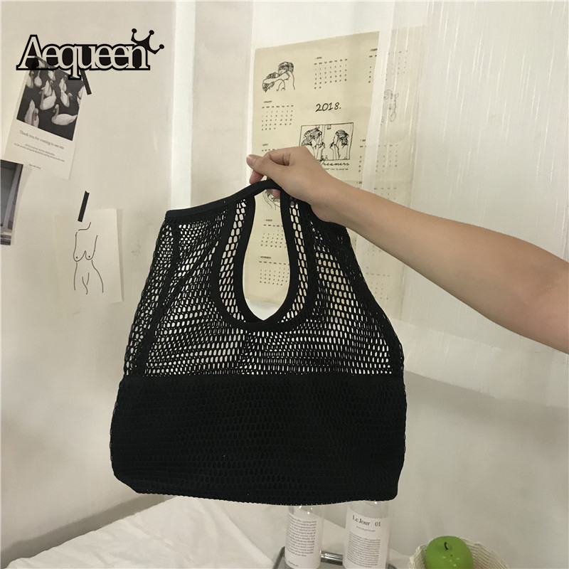 Functional Bags Large Bucket Totes Hollow Out Beach Bag New Women Mesh Handbags Foldable Shopping Bag Lady Casual Handle Bags Black White Luggage & Bags