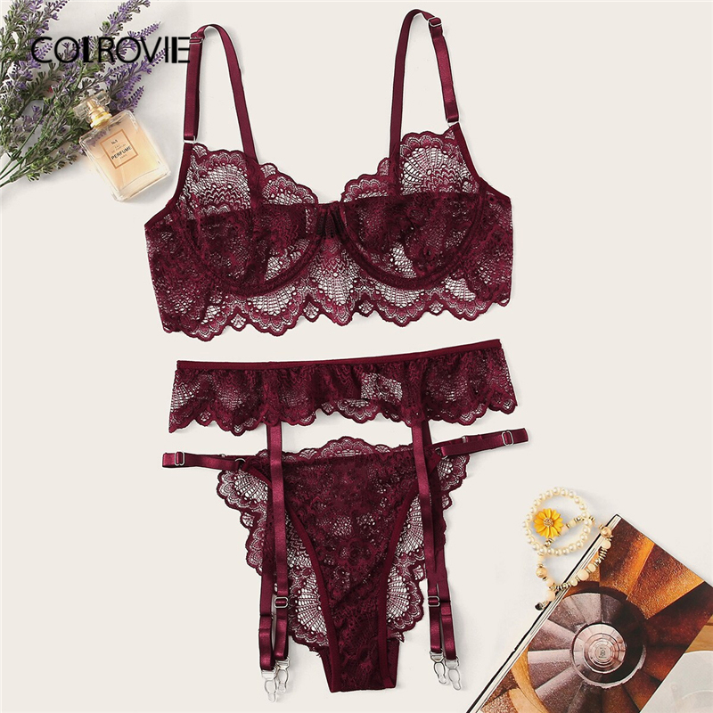 COLROVIE Burgundy Floral Lace Garter Sexy Lingerie   Set   Women Intimates 2019 Underwire Transparent   Bra   And Thongs Underwear   Set