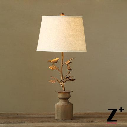 Country style american french art deco table lamp rion made linen lampshade bird leaf carve free shipping abajur