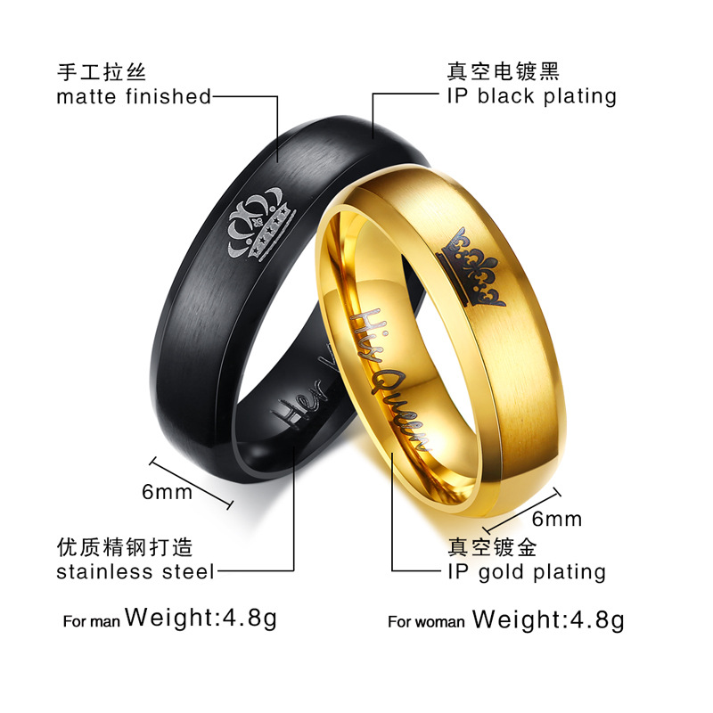 (10pcs) Fashion DIY Her King and His Queen Gold Black Stainless Steel Wedding Rings for Women Men Couple