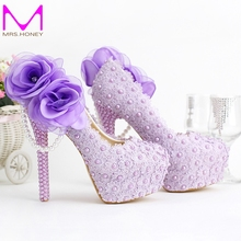 2016 Romantic Purple Super High Heel Wedding Shoes Beautiful Lace Handmade Bridal Dress Shoes with Appliques Bridesmaid Shoes