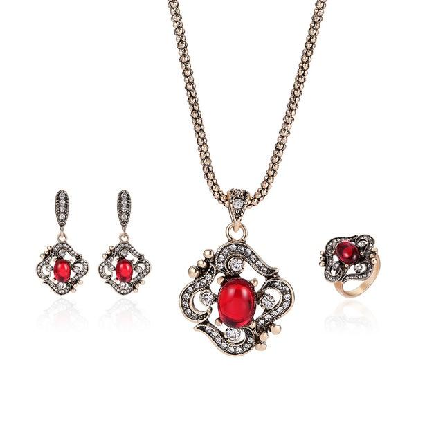 0c8e68548b10 Joyería India de la vendimia Conjunto de Oro Viejo de color Crystal  Rhinestone Rojo Anillo Pendientes