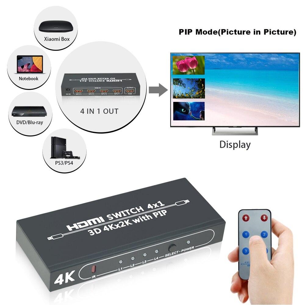 Aikexin 4 ports 4x1 HDMI Switch Ultra HD 4 K HDMI 1.4 4 en 1 boîtier de commutation avec contrôle PIP IR pour PS4 TV HDTV adaptateur HDMI