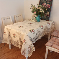 Free shipping cotton linen crochet lace fabric tablecloth 135*210cm European pastoral tea table cloth/cover