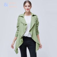 Magic Charm Fashion Spring Summer Overcoats Women Trench Coats New Arrival Long Sleeve Turn Down Collar