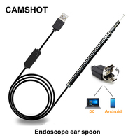 CAMSHOT Mini Camera Ear Cleaning 5 5mm Waterproofing Lens HD LED Endoscope 2 In 1 Usb
