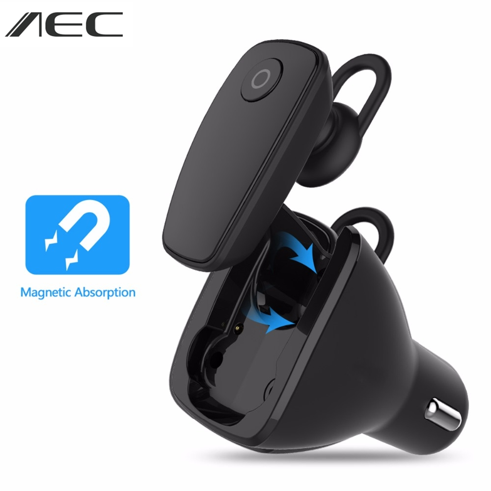 AEC Multifunction Wireless Bluetooth 4.1 Earphone+Car Charger 2-in-1 BQ638  Car Kit Earphone Hands-free Calling for iPhone 2 in 1 wireless bluetooth earphone