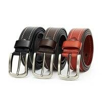 2018 new designer men's leather belt brown genuine leather jean's belts for men male cowhide strap pin buckle cinto 130cm