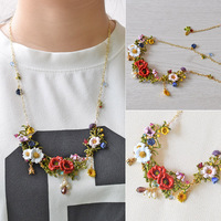 Warmhome Trendy Jewelry French Magical Plant Series Various Flower Gem Enamel Glaze For Women Necklace