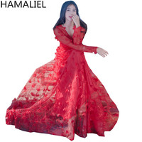 Summer Maxi Long Dress New 2017 High Quality Women Beautiful Red Appliques Floral Three Dimensional Holiday