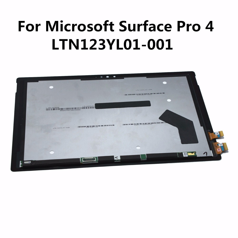 For Microsoft Surface Pro 4 1724 LTN123YL01-001 New Black LCD Display Panel Screen + Digitizer Touch Screen Assembly Replacement new original for microsoft surface pro 1514 pro 2 1601 ltl106hl01 001 lcd display touch screen digitizer lens free