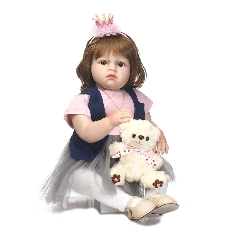 28inch silicone princess toddler doll handmade Reborn baby doll modeling Toys lifelike girl doll collectible doll play house28inch silicone princess toddler doll handmade Reborn baby doll modeling Toys lifelike girl doll collectible doll play house