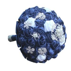 Image 5 - WifeLai A Diamond Navy Blue Bridal Brooch Wedding Bouquets De Noiva de mariage Holding Satin Bouquets On Sale W293