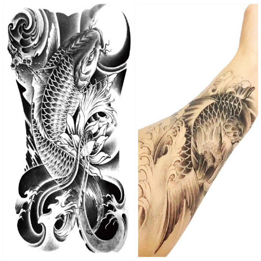arm leg 3d carp graphic waterproof temporary tattoo body art stickers removable hot selling. Black Bedroom Furniture Sets. Home Design Ideas