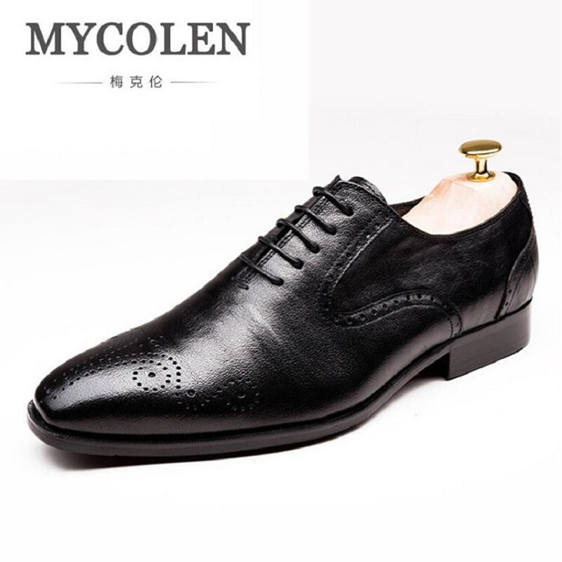 цена MYCOLEN High Quality Leather Dress Shoes Pointed England Style Business Formal Shoe Wedding Black Office Shoes For Men sapato онлайн в 2017 году