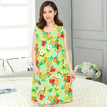 Summer Small Fresh Fruit Pattern Cotton Nightgown Women Sweet Girl Lounge Cute Nightdress Sleepwear Casual Nightwear Sleepshirts