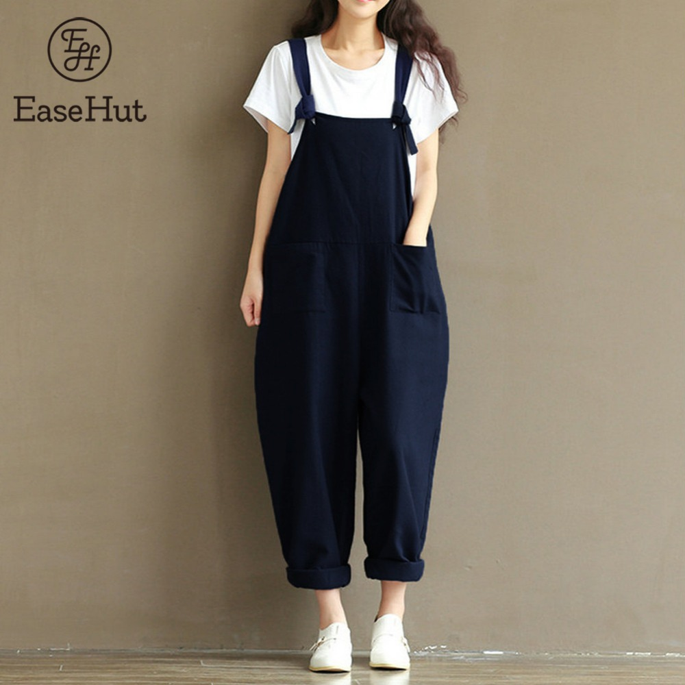 EaseHut 2019 Summer Rompers Womens   Jumpsuits   Vintage Sleeveless Backless Casual Loose Solid Overalls Strapless PaysuitsPlus Size