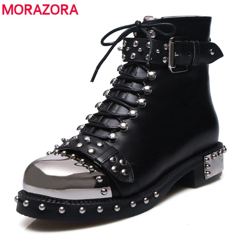MORAZORA/2018 г. бренд заклёпки сапоги панк до лодыжек для женщин осень зима пояса из натуральной кожи сапоги и ботинки для девочек женские Высоко...