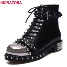 MORAZORA 2019 marka perçinler punk yarım çizmeler kadın sonbahar kış hakiki deri çizmeler kadın yüksek kaliteli motosiklet boots ayakkabı