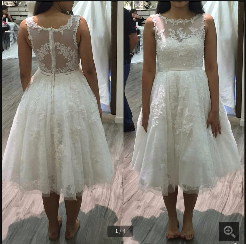 2016 New Designer Lace Appliques A Line Wedding Dress Beading Sequins Sheer Back Sexy Bride Gowns Petite Bride Dresses