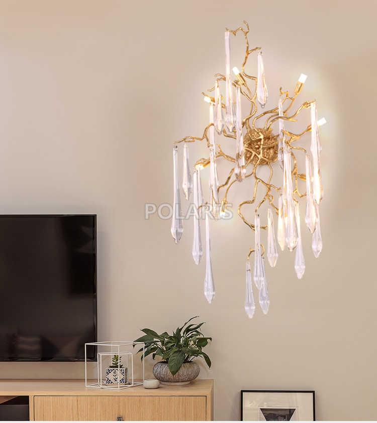 Художественное декоративное стекло, хрустальная люстра, светодиодный настенный светильник, медный настенный светильник для дома, для гостиничного номера, Декор