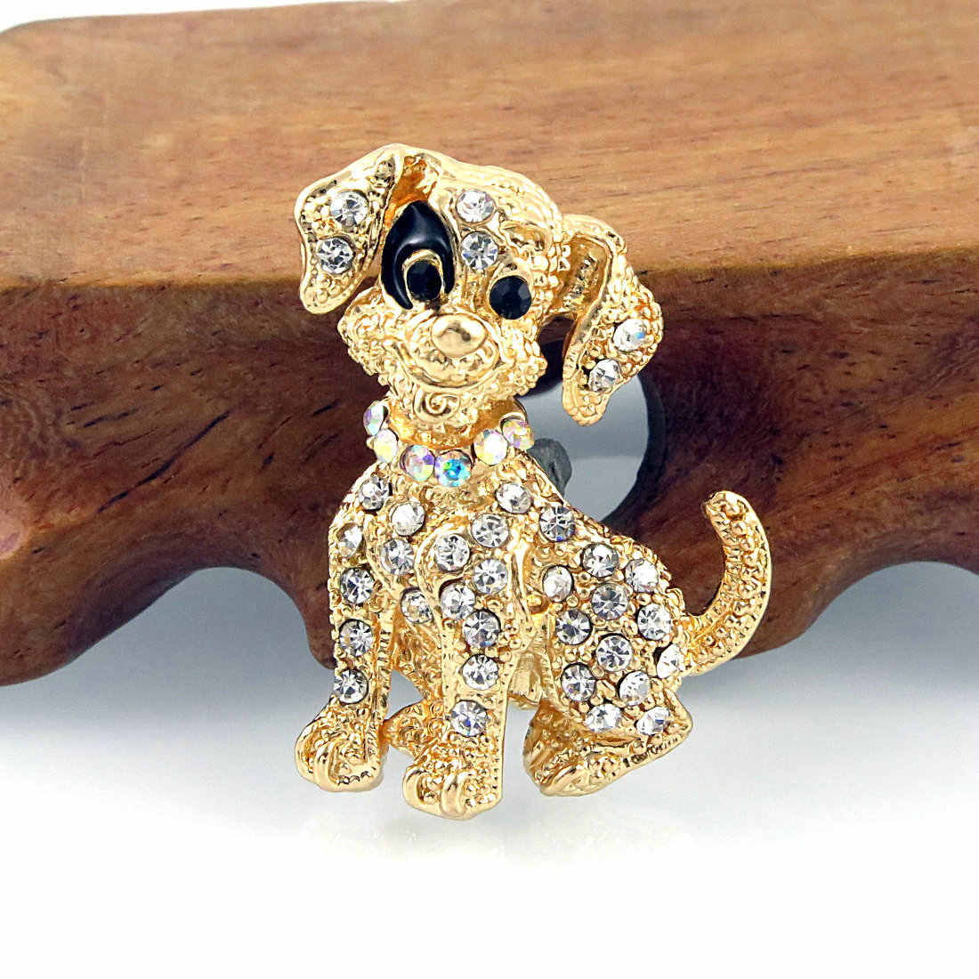 Fashion Warna Emas Anjing Bros Rhodium Berlapis Hewan Bros Berlian Imitasi Berkilau Pin Berselera Aksesoris Perhiasan