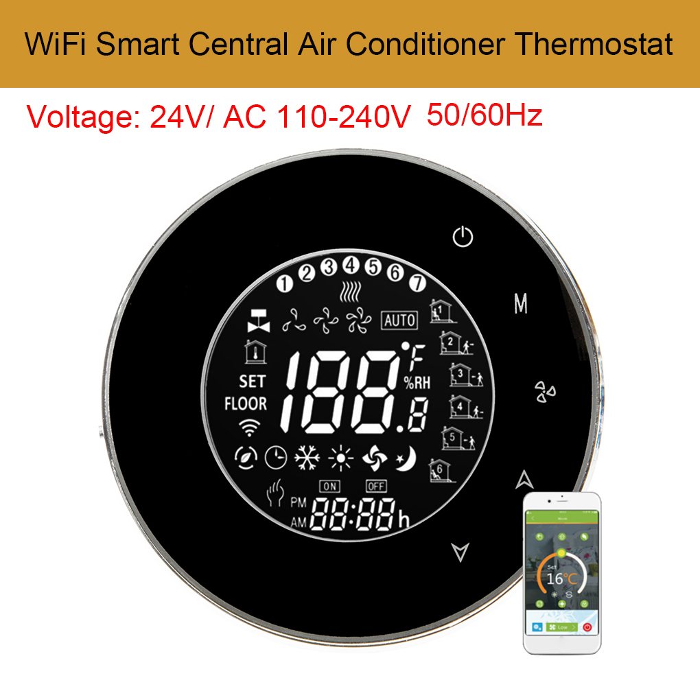 Hot Sale Ac110 240v Wifi Smart Central Air Conditioner Temperature Thermostat Controller Lcd Backlight Touchscreen 4 Pipe Programmable
