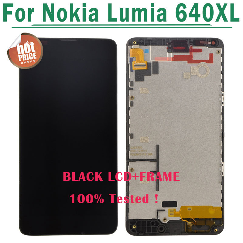 LCD Screen For Nokia for Lumia 640XL LCD Diaplay Screen Touch Digitizer Assembly+Frame Black color