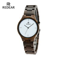 REDEAR Wholesale Black Sandalwood wooden Man Watch White personality Surface for Clock Women As Present