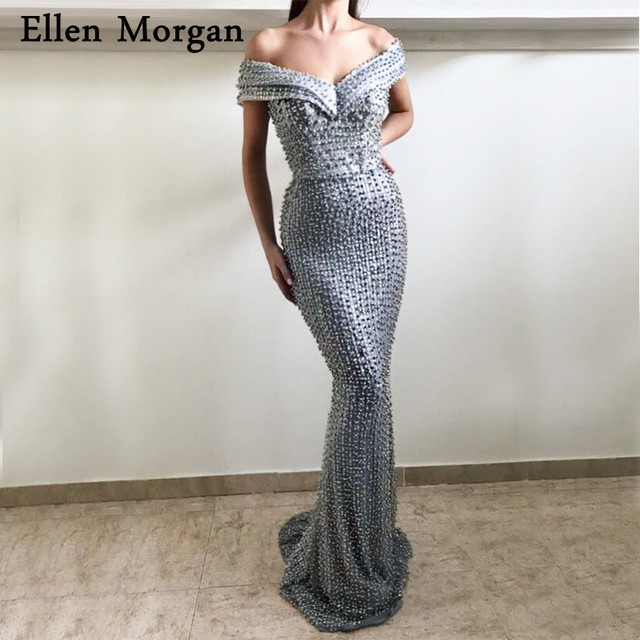 6381c3915e US $289.8 10% OFF|Sexy Grey Mermaid Evening Dresses 2019 Robe De Soiree Off  Shoulder Pearls Glitter Fabric Formal Prom Party Gowns for Women Wear-in ...