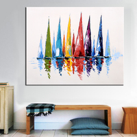 Sailboat Hand Painted Oil Painting Modern Abstract Colorful Wall Decorative Canvas Art Pictures for living room Home Decor Gift