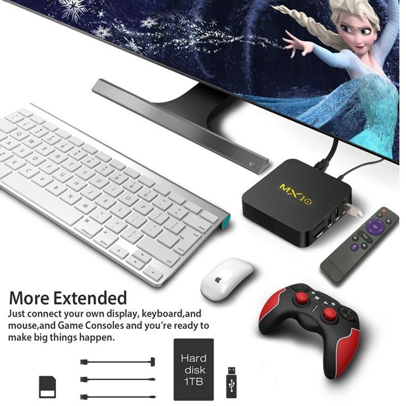 Boîtier TV intelligent MX10 Android 9.0 Rockchip RK3328 DDR3 4GB Ram 64GB Rom IPTV décodeur intelligent 4K USB 3.0 HDR H.265 boîtier lecteur multimédia - 6