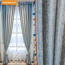 9050bf61d Personalizada de cortinas de alto grado moderno Simple de alta precisión,  de lino de algodón europeo sólido de tela azul cortina.