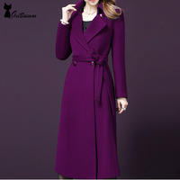Women S Fashion Wool Blend Coat Vintage Inspired Belted Long Sleeve Winter Coat Elegant Maxi Outerwear