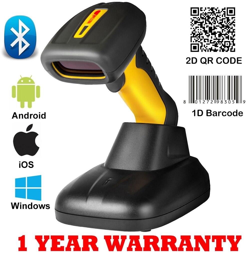 1d/2d Qr Code Bluetooth Barocde Scanner Wireless Barcode Scanner Bar Code Reader Für Lager Mit Ladegerät Stehen