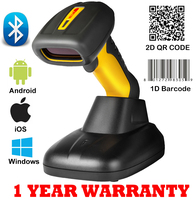 1D / 2D QR Code Bluetooth Barocde Scanner Wireless Barcode Scanner Bar code Reader for Warehouse With charger stand