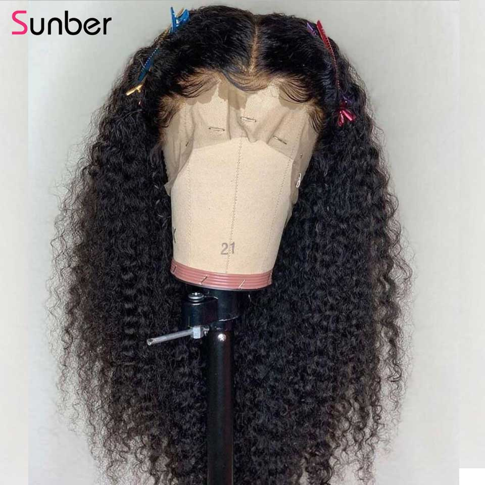Sunber Hair Curly Full Lace Front Wig 14 24 inch Brazilian Hair Wig 150 180 Density