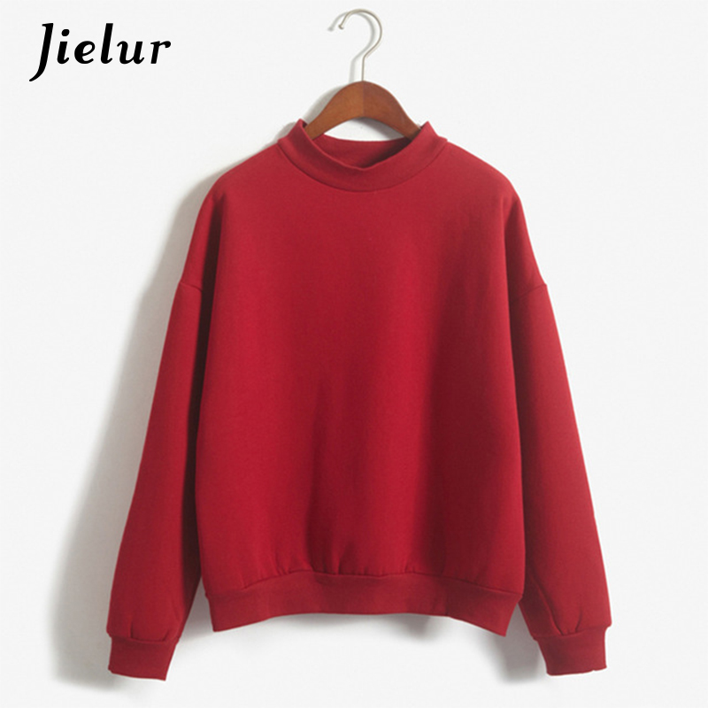 Jielur Korean Fashion M-XXL Women Hoodies 9 Colors Autumn Winter Pullover Loose Fleece Tracksuit Thick Pure Sweatshirt Female