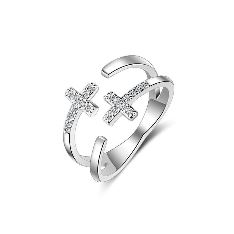 JEXXI Cross Design Fashion Silver Plated Cubic Zirconia Woman Rings Ajustable Opening Finger Midi Ring For Party Bague Femme