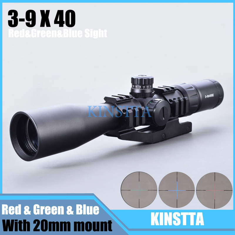 Tactical 3-9x40 BE Hunting Riflescope Mil Dot RGB Illuminated Optics Sight Reticle Rifle Scope With Cantilever Rail Mount 4x 30mm red green mil dot reticle rifle scope with gun mount black 3 x ag13 1 x cr2032