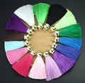 10Pcs/lot 80mm Color Silk Satin Tassel Charm Necklace Earring Findings Tassels For Jewelry Making Gold Caps Mob Straps