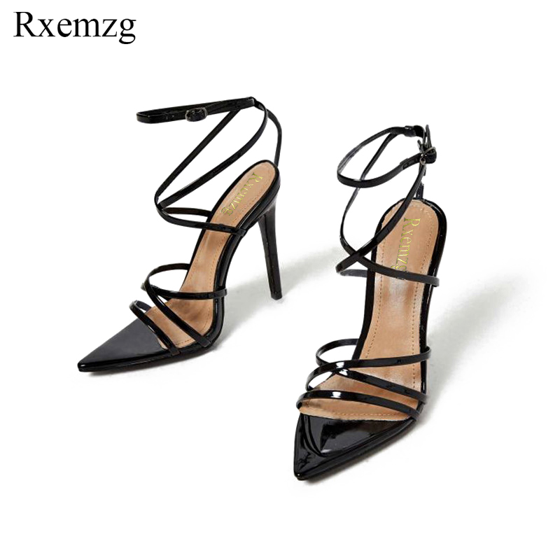 Rxemzg black sandal sandals women fashion narrow band sexy high heels gladiator shoes woman buckle strap
