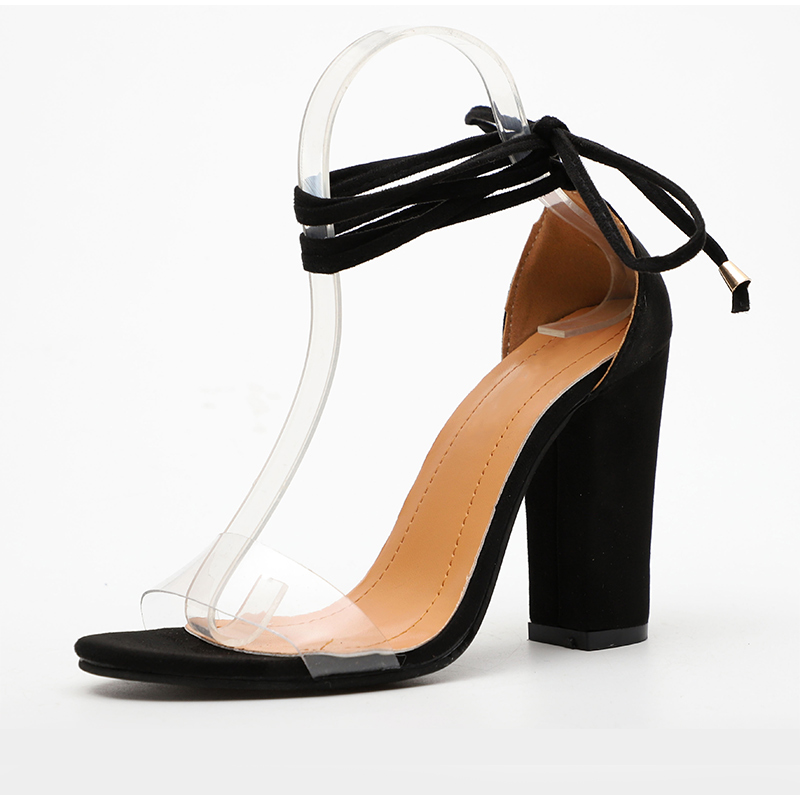 HTB1pc8IPpYqK1RjSZLeq6zXppXav Summer Women High Heels Shoes T-stage Transparent Sandals Sexy Square Heel Pump Female Cover Heel Party Wedding Ladies Plus Size