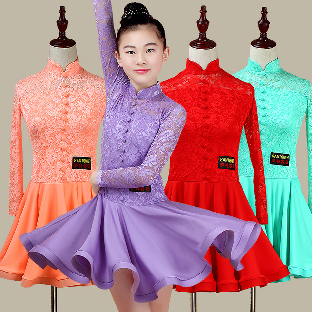1c44701becb5 Latin Dance Dress For Girls Lace Competition Ballroom Dancing Dresses Kids  Samba Junior Clothing Children Stage
