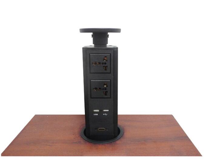 2019 nouveau 2 * alimentation universelle + 2 * charge USB + 1 * HDMI, noir (y compris le corps et le haut), avec prise EU/UK/USA/AU, prise pop livraison gratuite